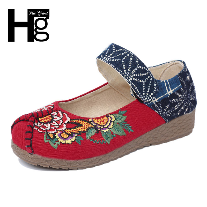 HEE GRAND Beijing Style Flats Woman Folk Custom 2017 Cultural Women Single Shoes Size 35-39 XWD5280 vintage embroidery women flats chinese floral canvas embroidered shoes national old beijing cloth single dance soft flats