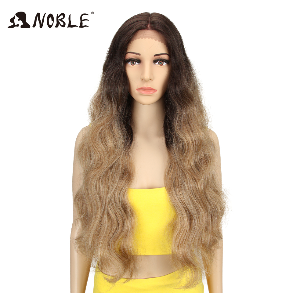 NOBLE Long Wavy Wigs For Black Women Synthetic Blonde Cosplay Wigs 30 Inch Heat Resistant African American Synthetic Wig