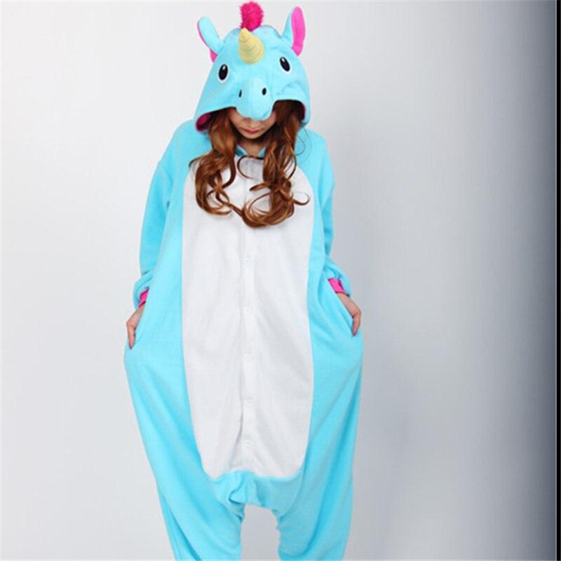 Unisex Fleece Adult Unicorn Pink/Blue Onesie Pajamas Halloween Christmas Party Cosplay Anime Costumes Jumpsuit Pajamas S M L XL