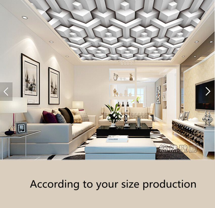 Custom ceiling wallpaper. 3D fashion geometric pattern for the living room hotel restaurant ceiling waterproof papel de parede custom 3d stereo ceiling mural wallpaper beautiful starry sky landscape fresco hotel living room ceiling wallpaper home decor 3d