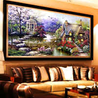 New Garden 5D Diy Diamond Painting Cross Stitch Lake House Scenery Diamond embroidery Crystal Round Rhinestone Mosaic Picture