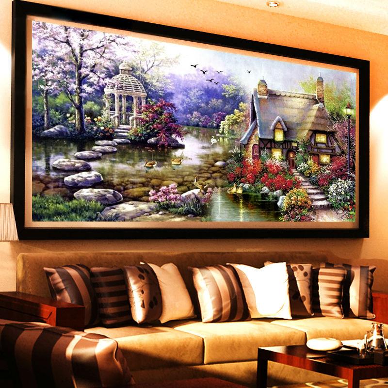 Needlework Diy Diamond Painting Cross Stitch Lake House Scenery Diamond Embroidery Crystal Round Rhinestone Mosaic Picture