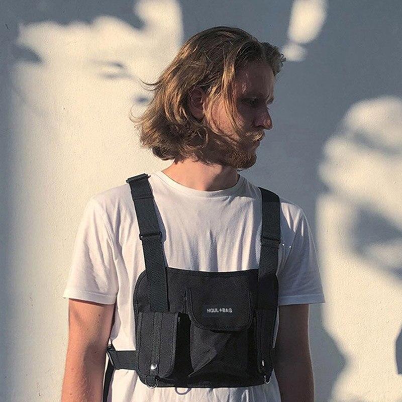 Männer Brust Rig Hip Hop Streetwear Unisex Kühlen Funktionale Taktische Brust Tasche Kreuz Taille Tasche Nylon Punck Stil Rucksack D1