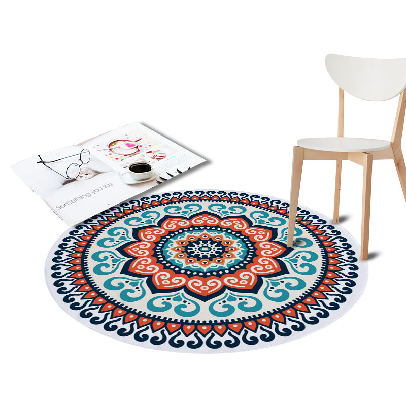 Round Anti-Slip Rugs for Living Room Doormat Mandala Print Carpet Door Floor Mats for Bedroom Bohemia Kids Chair Mats Home Decor