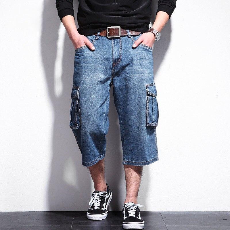 a8ef7a1324c Повседневное Для мужчин s Шорты Джинсы Для мужчин летние большие карманы  шорты плюс Размеры джинсовой мужской