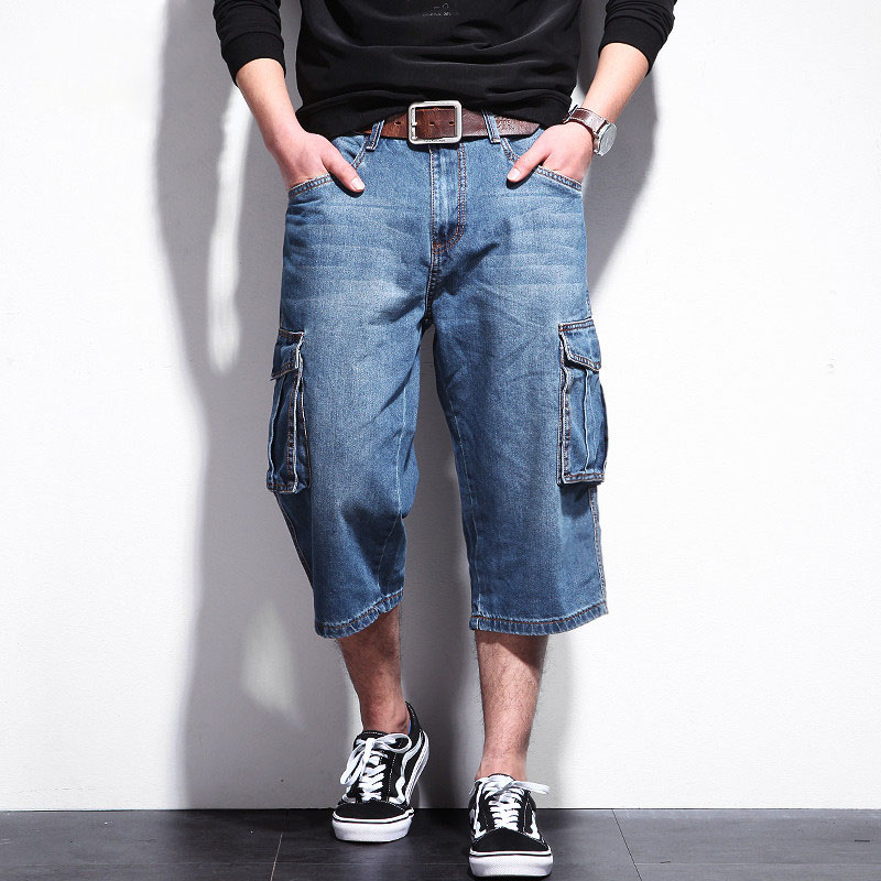 Casual Mens Shorts Jeans Men Summer Big Pockets Shorts Plus Size Denim Male Clothing Big Size A5333