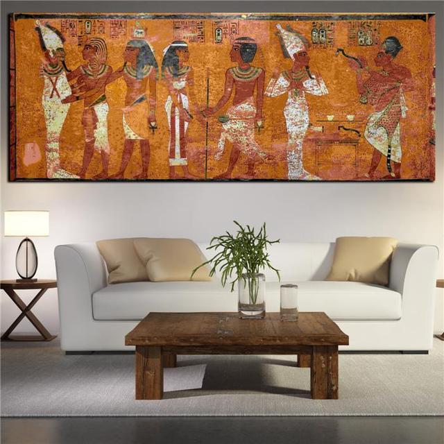 gyptien d cor toile peinture peinture l 39 huile mur photos pour salon d coration murale grande. Black Bedroom Furniture Sets. Home Design Ideas