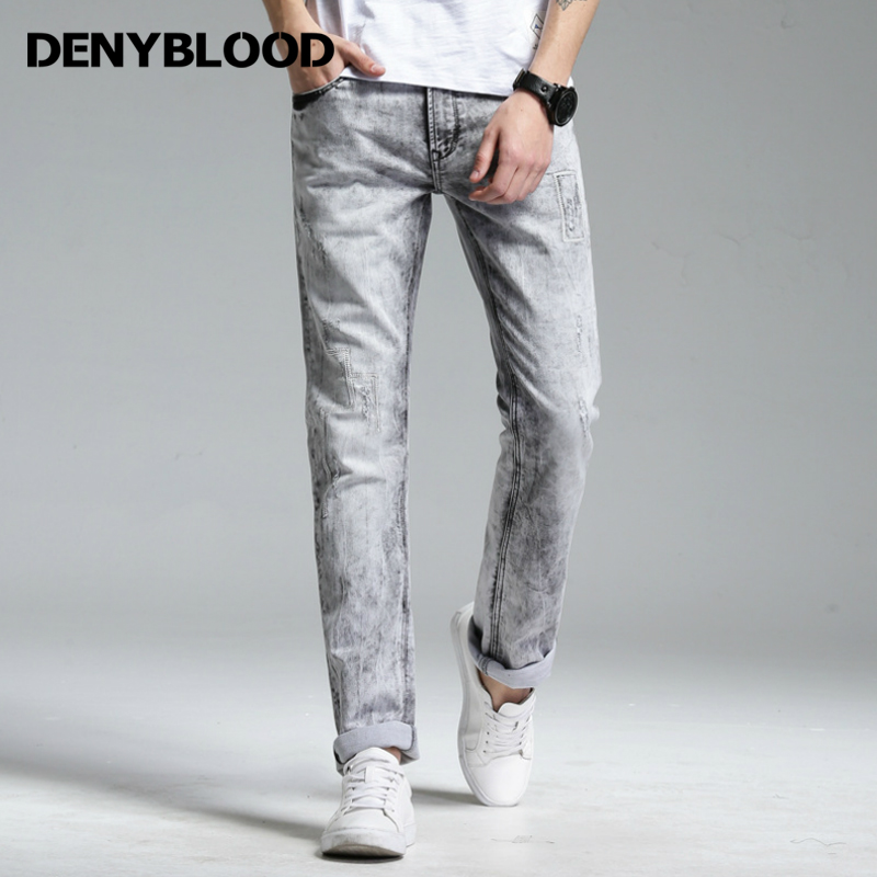 Denyblood Jeans Mens Stretch Knitted Denim Slim Straight Jeans Bleach Vintage Snow Washed Distressed Jeans Ripped Pants 178091