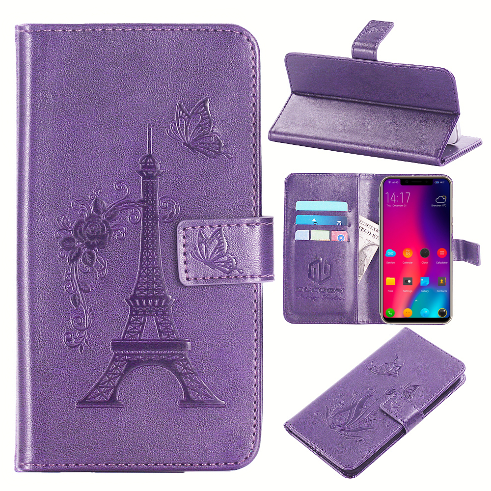GUCOON Embossed PU Leather Case for Elephone A4 Eiffel Tower Flowers Butterfly Flip Wallet Cover for Elephone A4 Pro