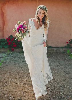 Lace Vestido De Noiva Wedding Dresses A-line V-neck Long Sleeves Lace Backless Beach Dubai Arabic Wedding Gown Bridal
