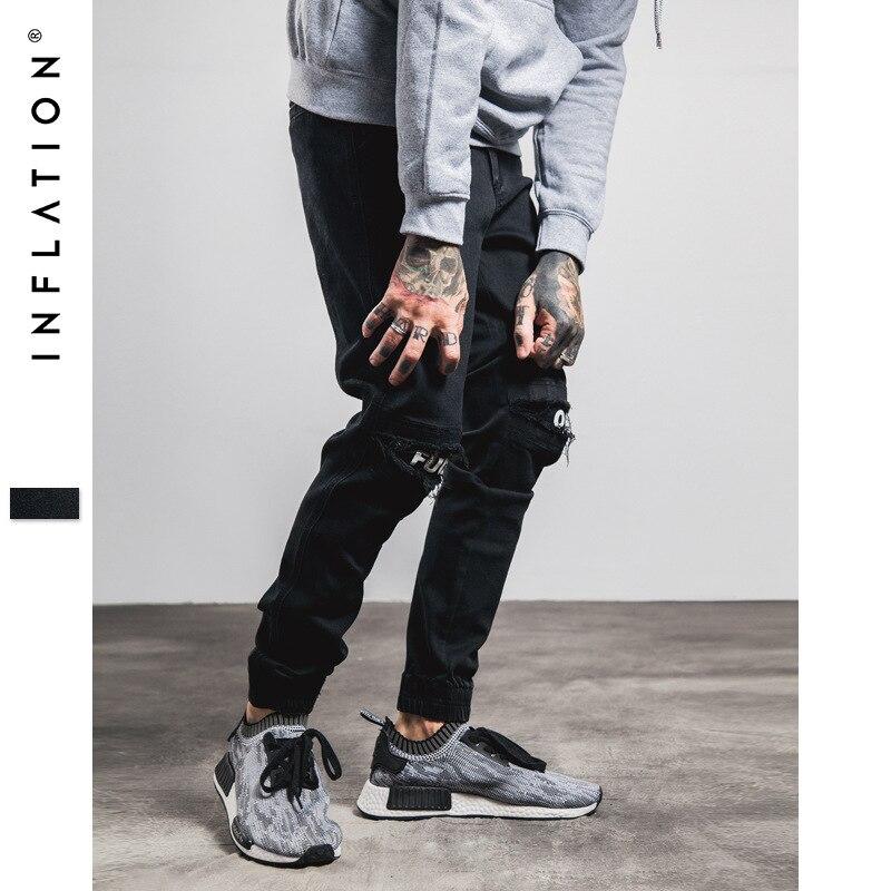 Инфляции новые рваные потертые джинсы для Для мужчин Тощий уничтожены Известный хип-хоп черный Для мужчин бегунов Брюки Повседневное High ...