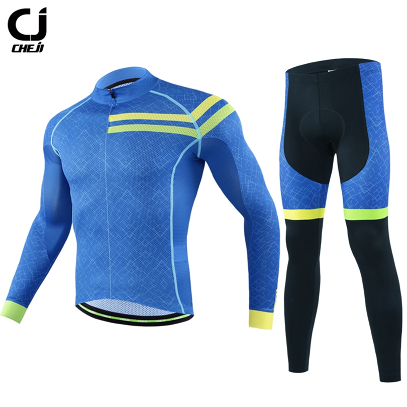 цены CHEJI Team Pro Team Sportswear Long Sleeve Ropa ciclismo Cycling Jersey Bicycle Bike MTB Cycle Clothing 6D Padded Pants Sets