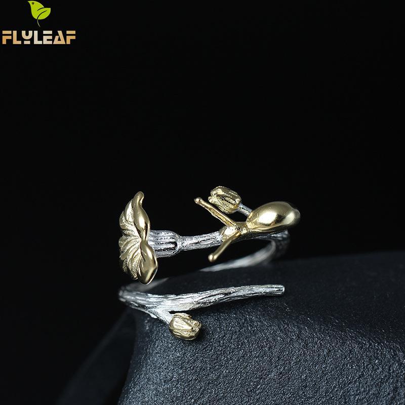 Flyleaf 100% 925 Sterling Silber Schnecke Lotus Blätter Öffnen Ringe Für Frauen Kreative Design Chinesischen Nationalen Stil Schmuck