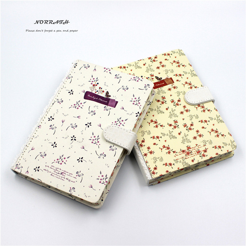NORRATH B6 Kawaii Cute Stationery Pastoral Printed Notebook Magnetisk Buckle Memo Pad Office School Gaveartikler Notisblokk