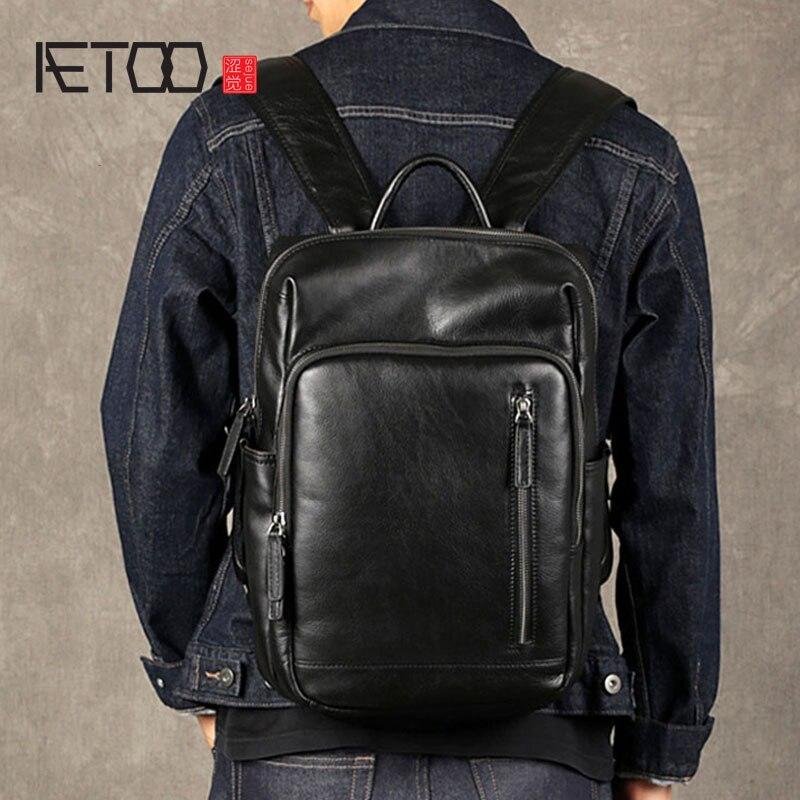 Bagaj ve Çantalar'ten Sırt Çantaları'de AETOO Deri erkek omuzdan askili çanta ilk katman deri seyahat çantası moda trendi çantası rahat iş bilgisayar çantası'da  Grup 1