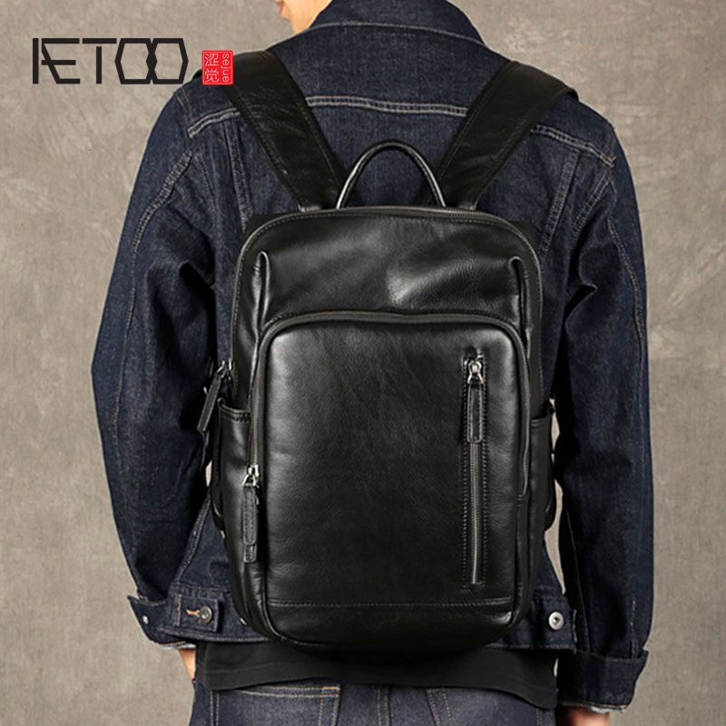 AETOO Leather mens shoulder bag first layer leather travel bag fashion trend bag casual business computer bagBackpacks   -