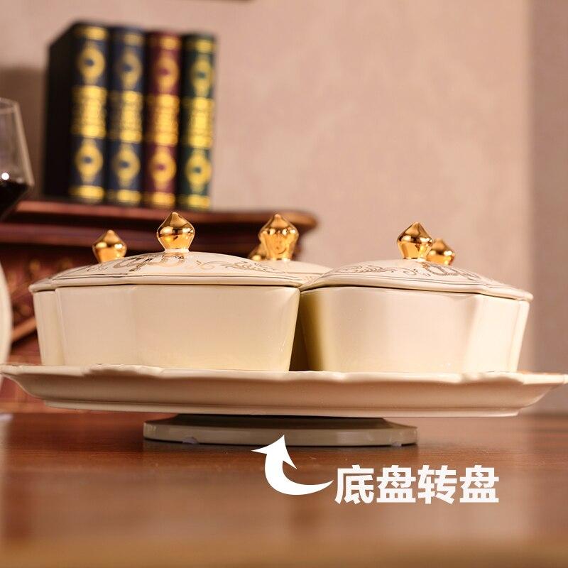 Bocal de bonbons avec couvercle en céramique 360 degrés rotatif boîte de fruits Secs Collation plateau De Stockage boîte organisateur Boîtes De Rangement et Bacs - 6