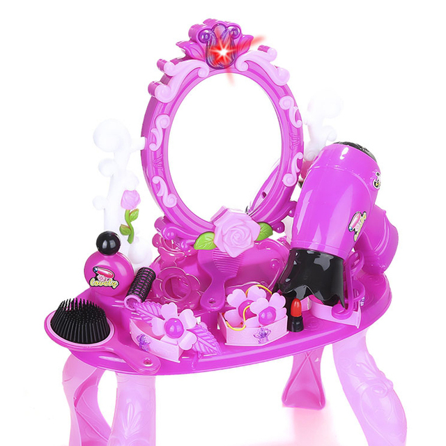 Simulation Cosmetic Case Baby Kids Girls Makeup Tool Kit Box Children Pretend Play House Toy Chic Dresser Simulation Make Up