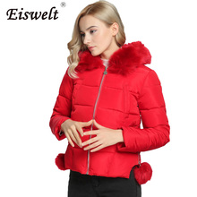 Red Parkas Winter Woman 2017 Fashion Down Fur Coat Female Zipper Padded High Quality Women Outwear Basic Thick Clothing Wc17