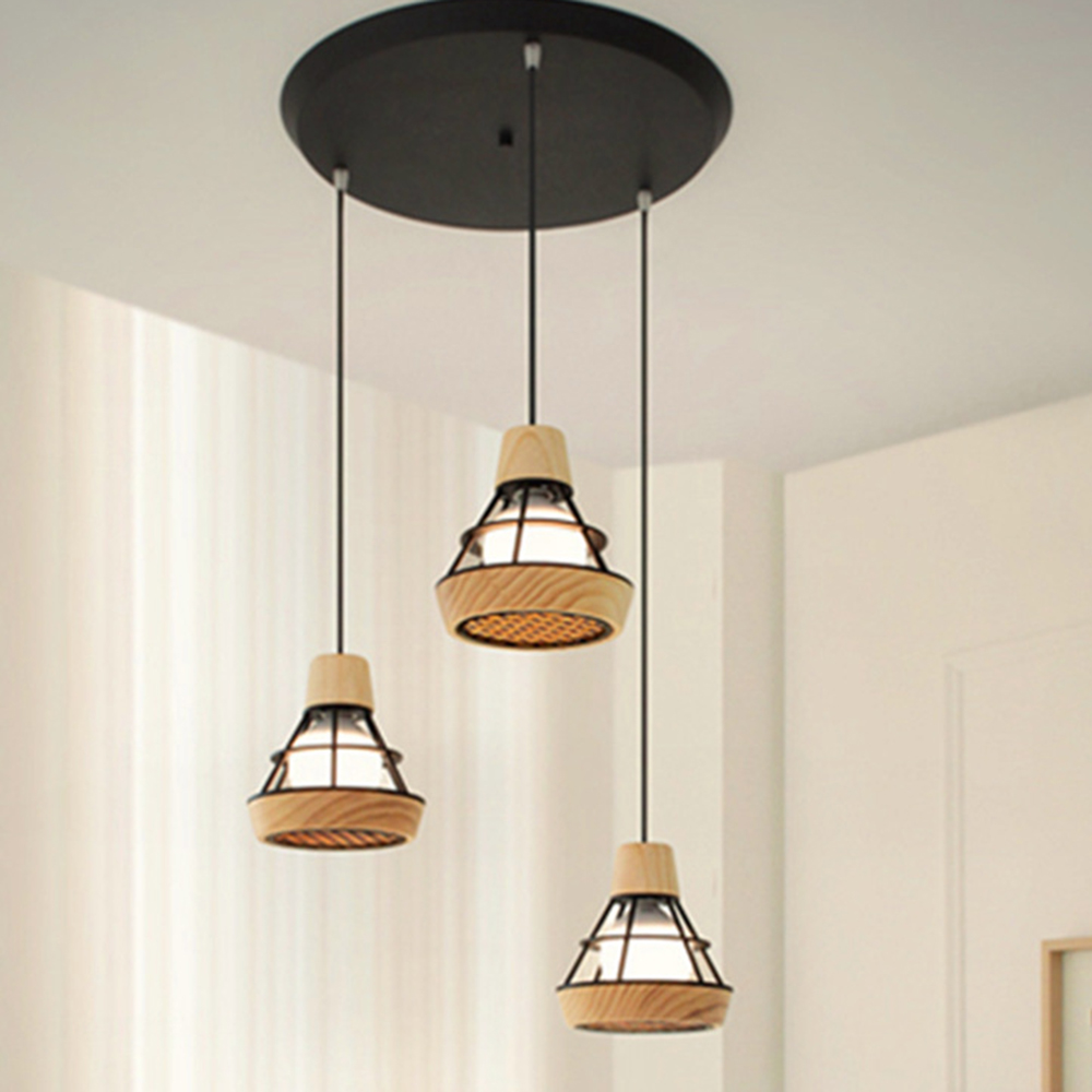 купить Nordic restaurant wooden Pendant Lights personality round single head Pendant Lamp bar bedroom room led wood pendant lamp modern онлайн