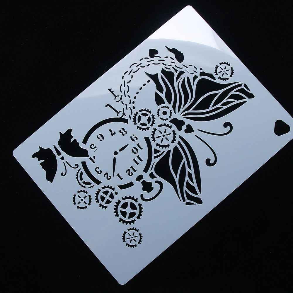Châu âu Cổ Điển Đồng Hồ Bánh Răng Đồng Bướm Tái Sử Dụng Stencil Airbrush Vẽ Tranh Nghệ Thuật Bánh Phun Khuôn TỰ LÀM Trang Trí Nội Thất Thủ Công Mỹ Nghệ