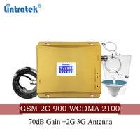 Lintratek gsm 900mhz 3g umts 2100mhz celular sinal impulsionador gsm 900 2100 amplificador de sinal 2g 3g banda dupla repetidor extensor conjunto