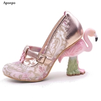 Apoepo Hot Selling Flamingo Strange Heels Woman Shoes 2018 Lovely Glitter Embellished t strap High heel shoes Customized Pumps