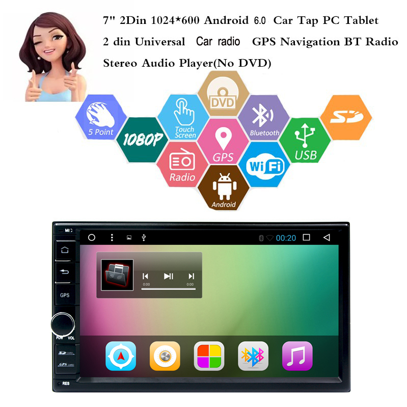 7″ 2 Din Android 6.0 Car Tap PC Tablet 2 din Universal For Nissan hyundai GPS Navigation car Radio Stereo without dvd loader