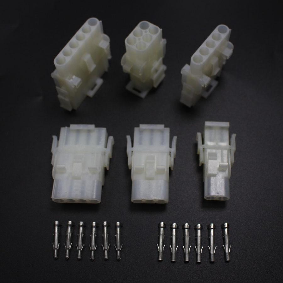 6set 63080 2P 3P 4P 5P 1x6P 2x3P Electrical Wire Connector Plug 6.3 ...