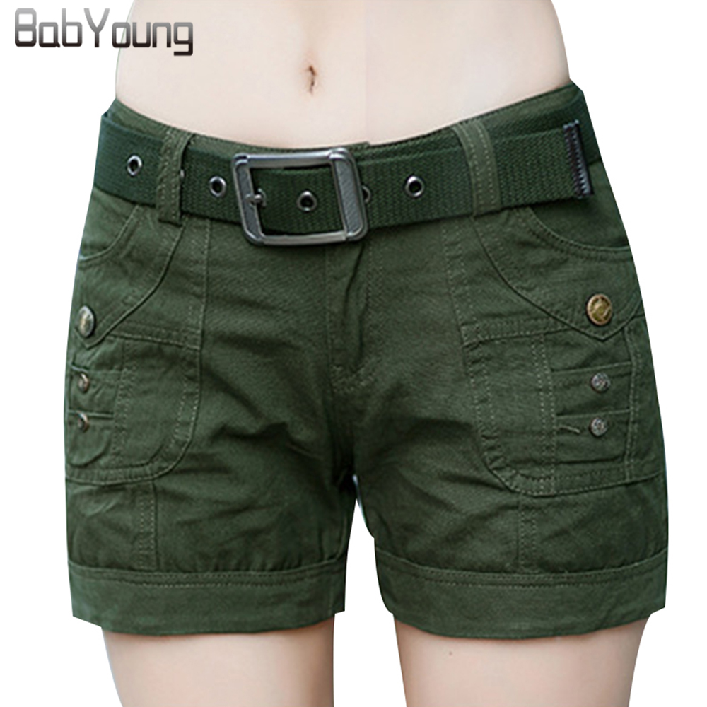 BabYoung Spodenki treningowe Damskie spodenki Army Green Military Camouflage Print Summer Style Sexy Short Feminino Mujer Not with Belt