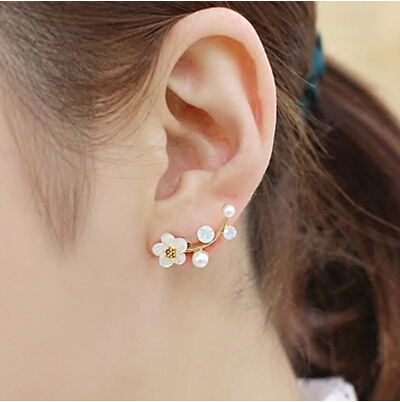 Hot Sale Promotion 2017 New Fashion Pearl Flower Design 925 Sterling Silver Stud Earrings for Women Girls Christmas Gift