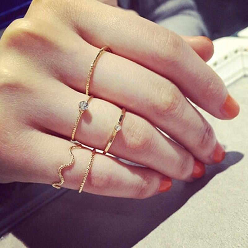 Bagues minimalistes ensemble de bijoux de mode Anel Anillos été petite bague en cristal 5 pièces/ensembles bagues de haute qualité pour les femmes