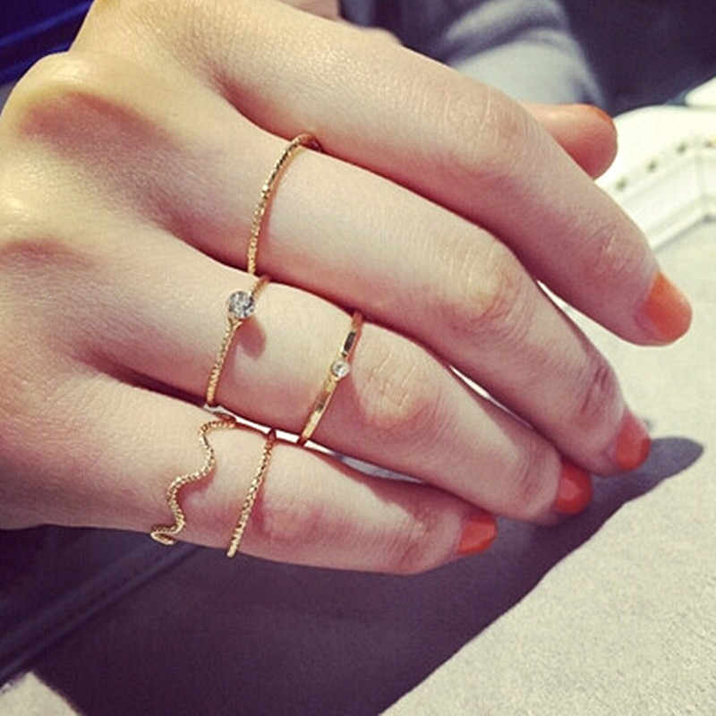 Minimalist Finger Rings Set Fashion Jewelry Anel Anillos Summer Tiny Crystal Ring 5pcs/Sets High Quality Rings For Women