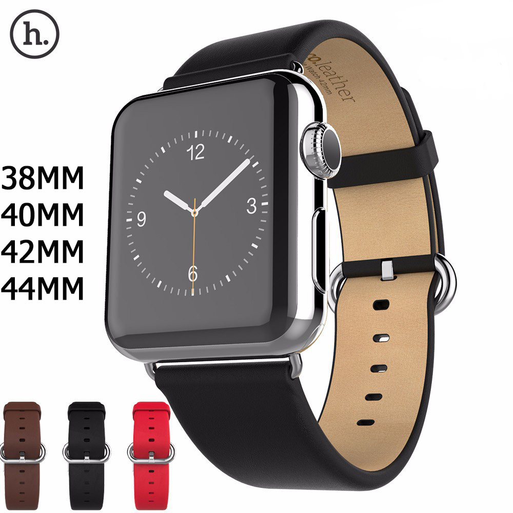 HOCO New Genuine Leather Band For Apple Watch 4 2 1 First Layer Leather Strap Compatible With Apple Watch 44MM 40MM 42MM 38MM-in Watchbands from Watches