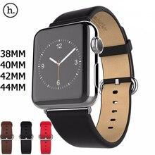HOCO nueva correa de cuero genuino para Apple Watch 5 4 2 1 correa de cuero de primera capa Compatible con Apple Watch 44MM 40MM 42MM 38MM