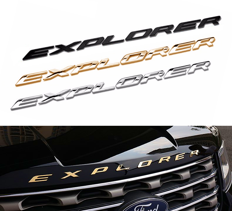 3D Metal Letters Chrome Car Auto Front Hood Chrome For Explorer 2012 2013 2014 2015 Ford Hood Emblem Stickers Car Styling