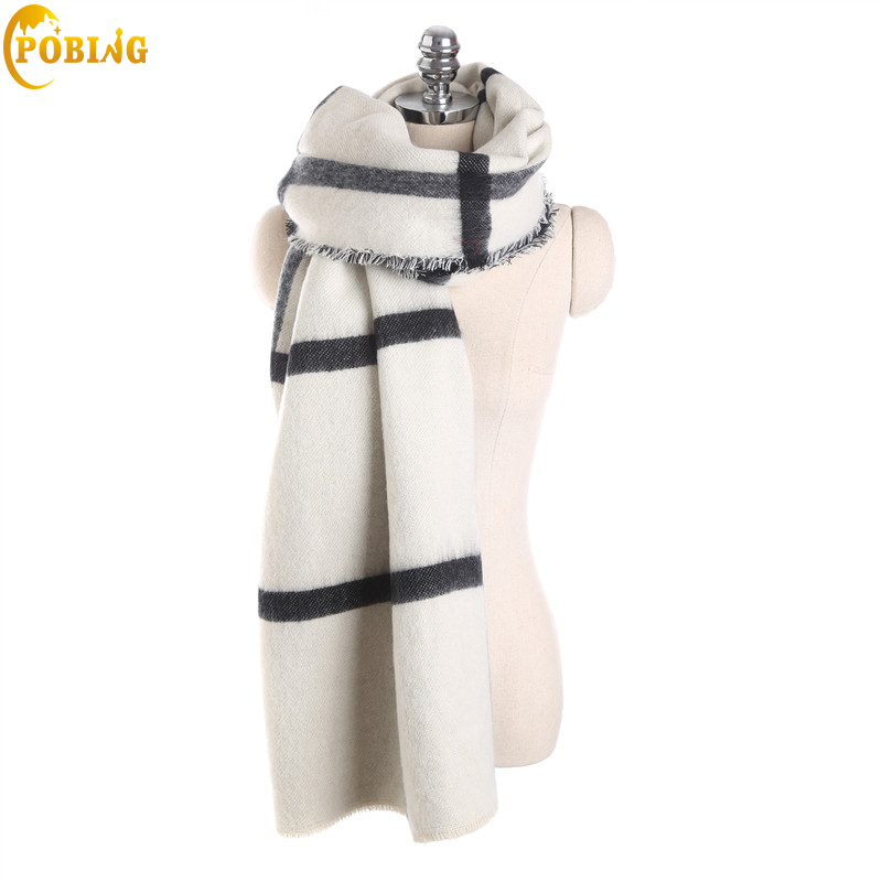 Image 3 - POBING Brand za Winter Scarf Women Double Tartan Plaid Cashmere Scarves Oversized Basic Acrylic Shawls Wrap Female Blanket Scarf-in Women's Scarves from Apparel Accessories