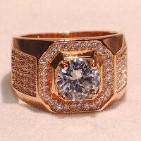 Потрясающие Роскошные брендовые изделия стерлингового серебра 925 Rose Gold Filled круглой огранки белый прозрачный 5A Цирконий CZ Для мужчин обруча