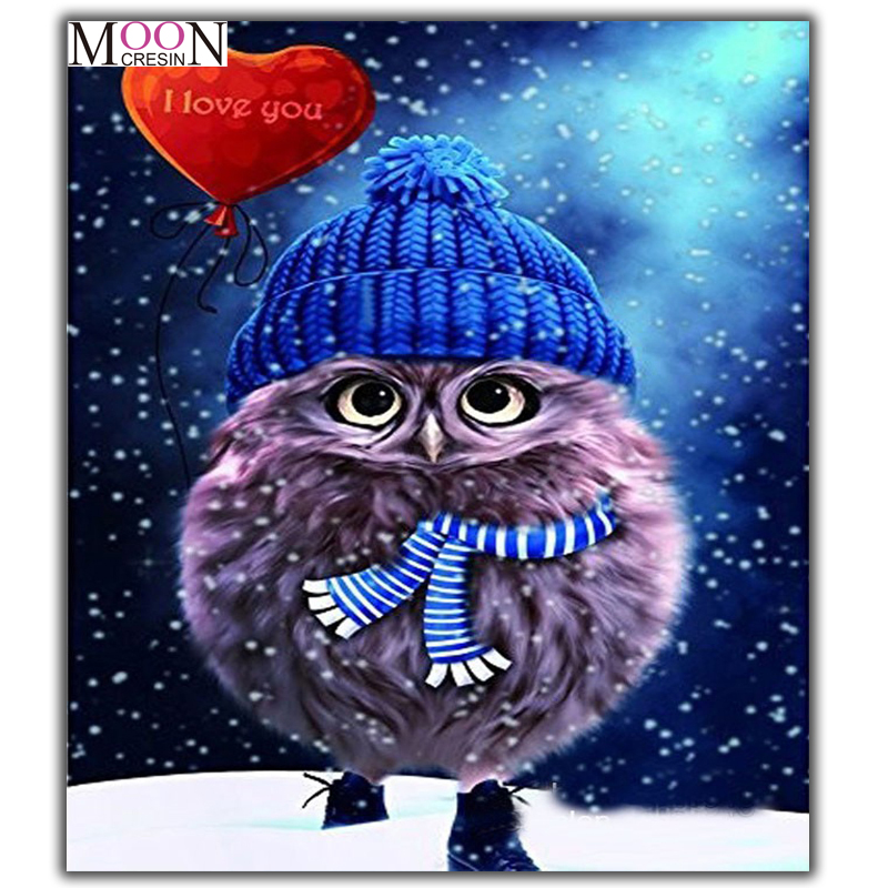 Hot Promo Cf5a Mooncresin Diamond Painting Cross Stitch Owls