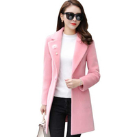 Winter Jacket Female 2019 New Women Woolen Coat Long Outwears Autumn Winter Woolen Jacket Women Clothing Slim Lady Coat AA585