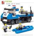 Обучающие детские игрушки 3d пластиковые полиции города человек транспортного средства построения модели собрал блок дети творческий подарок 1 шт. много