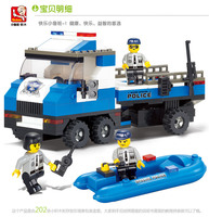 Educational baby toy 3d plastic city police man vehicle model building Kits assembled block children creative gift 1 pc a lot
