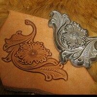 DIY leather craft floral corner wallet stamping machine mould 1