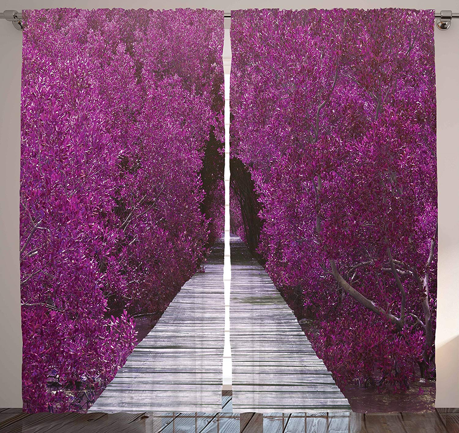Eggplant Curtains Nature Landscape Purple Flower Trees Aisle Panoramic Prospective Theme View Print Bedroom Living Room Curtain Curtains Aliexpress