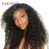 YVONNE 180% Densidade Encaracolado Malaio Virgem Do Cabelo Humano Lace Front Wigs Para Mulheres Negras Cor Natural Frete Grátis