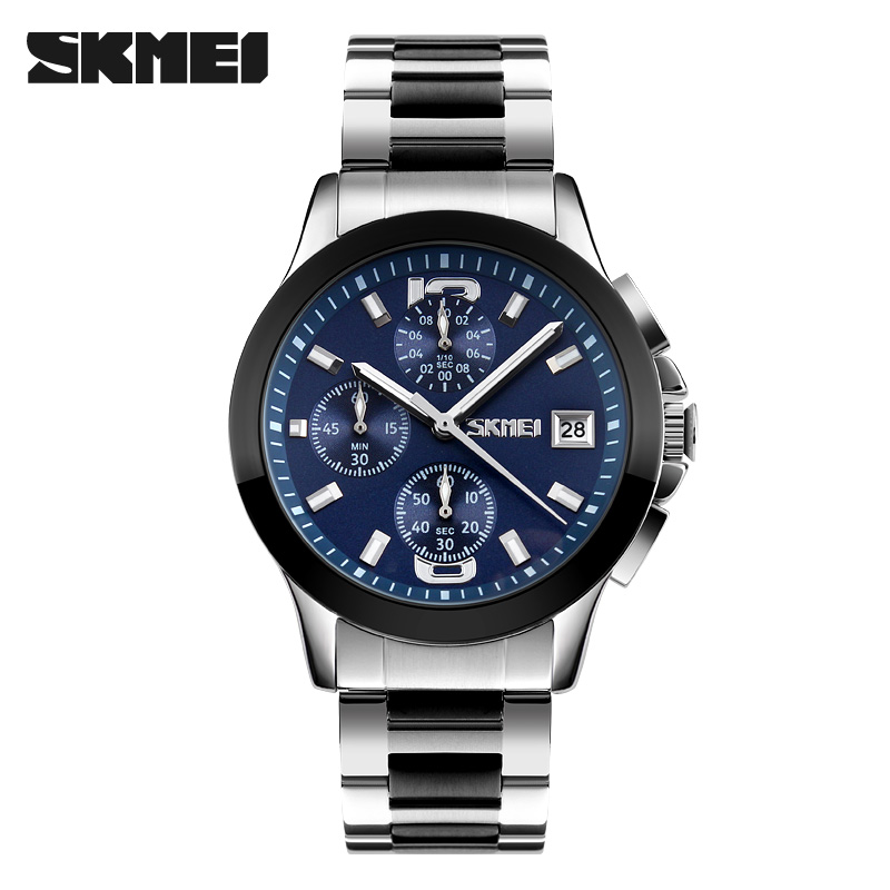SKMEI 9126 Luxury Full Stainless Steel Watch Men Business Casual Quartz Watch Sport Stopwatch Waterproof Men Wristwatches New 3 1745 9126 dz ar
