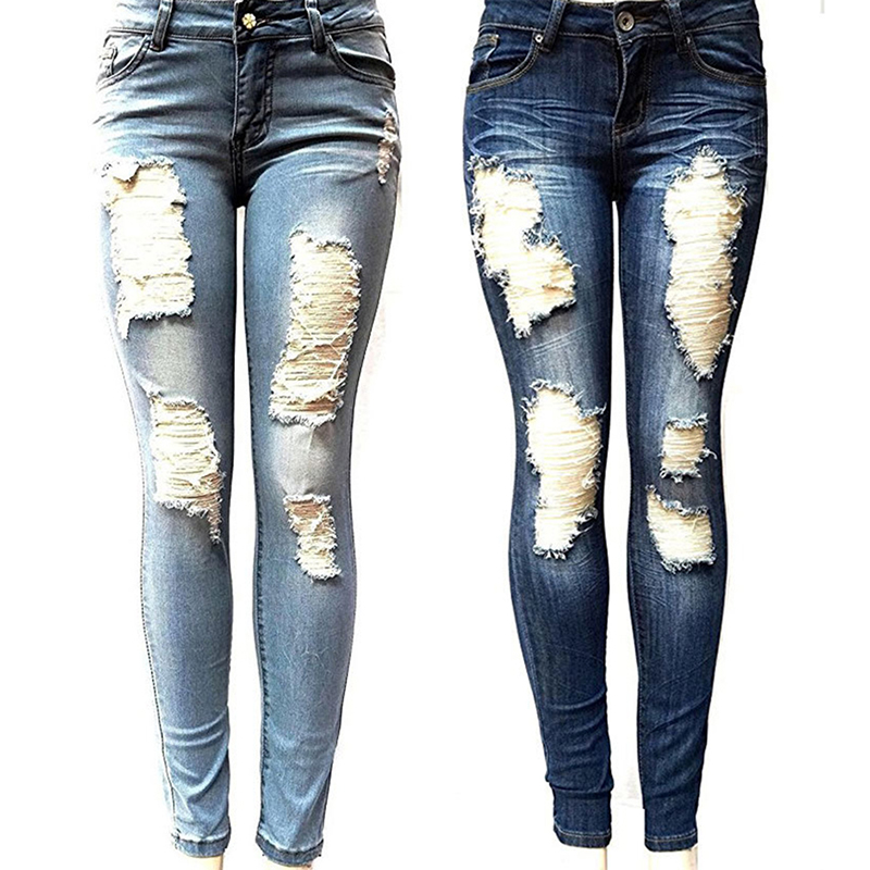 S-XXL Women's Skinny Hole Ripped Jeans New Fashion Women Baggar Pants Boyfriend Denim Biker Jeans Female Pencil Pants Softener(China)