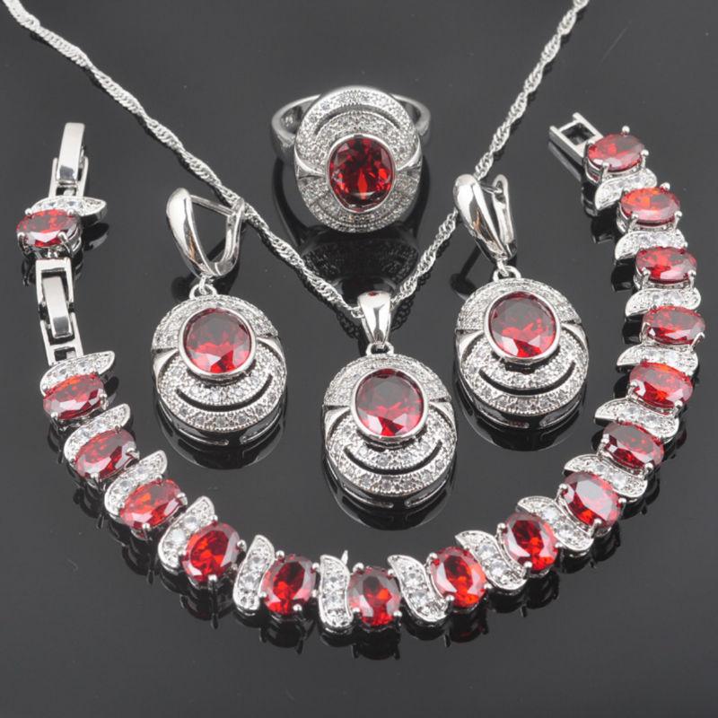 2019 Mode Fahoyo Roten Zirkonia Einzigartiges Design Für Frauen 925 Sterling Silber Schmuck Sets Armband Halskette Anhänger Ohrringe Ring Qs097
