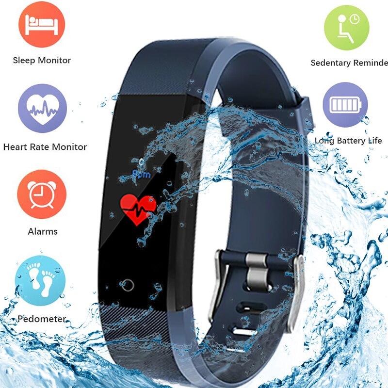 Inteligentny bransoletka krokomierz licznik kroków kalorii Smart watch do fitnessu spacerem tracker mężczyźni kobiety zdrowia ciśnienie krwi opasek na rękę