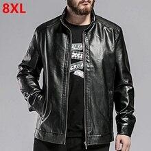Большие размеры повседневная мужская новых плюс удобрения Большие размеры Мужская куртка из искусственной кожи черная кожаная куртка 8XL 7XL 6XL 5XL